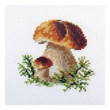 0-144 Набор для вышивания 'Алиса' 'Белые грибы', 10х10 см