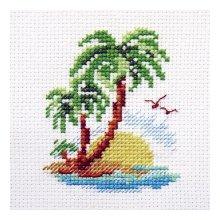 0-155 Набор для вышивания 'Алиса' 'Пальмовый островок', 8х6 см