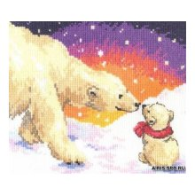 0-26 Набор для вышивания 'Алиса' 'Белые медведи', 20х16 см