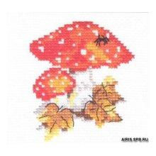 0-48 Набор для вышивания 'Алиса' 'Мухоморчики', 9х10 см