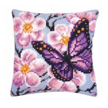 0008501-PN Подушка Vervaco 'Фиолетовая бабочка' 40x40 см
