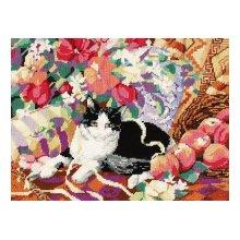 023-0163 Набор д.вышивания JANLYNN 'Кошка на софе' 40,6х30,5 см