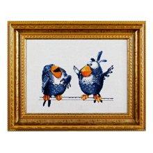 1021 Набор для вышивания Alisena 'Про птичек', 25х19 см