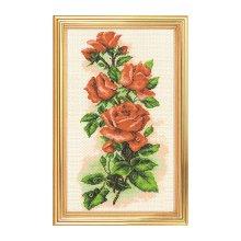 1074 Набор для вышивания 'Матренин Посад' 'Алые розы', 15х37 см