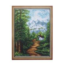 181 Набор для вышивания Lutars 'Домик в горах', 18х24 см