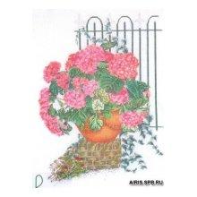 2036 Набор для вышивания Gouverneur 'Розовые гортензии', лён, 46х60 см