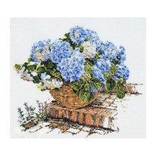 2046 Набор для вышивания Gouverneur 'Голубые гортензии в корзине', лён, 44х39 см
