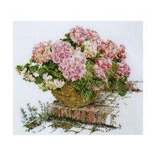 2047 Набор для вышивания Gouverneur 'Розовая гортензия на ступеньках', лён, 44х39 см
