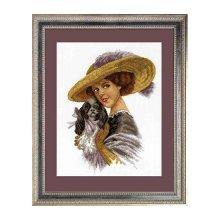 601 Набор для вышивания Hobby&Pro 'Дама с собачкой', 37х26 см