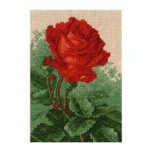604 Набор для вышивания Hobby&Pro 'Алая роза', 21х14,5 см
