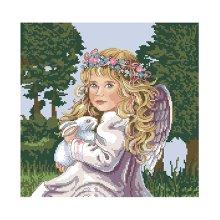 Набор для вышивания 'Ангелочек с зайкой' 35х35 см