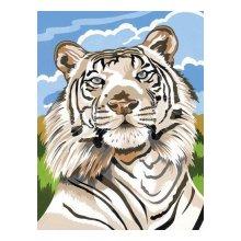 EX5065 Набор для раскрашивания по номерам 'Белый тигр', 30x40 см