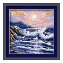 F023 Набор для раскрашивания по номерам 'Вечерние волны', 40х40 см