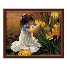 G014 Набор для раскрашивания по номерам 'Девочка с цветами', 40х50 см