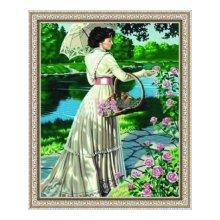 G017 Набор для раскрашивания по номерам 'Дама с цветами', 40х50 см