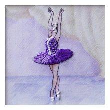ВЛБС0002 Набор для вышивания лентами Woman-Hobby 'Серия Балерины' 13,5х13,5 см