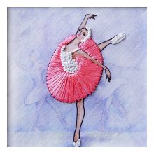 ВЛБС0004 Набор для вышивания лентами Woman-Hobby 'Серия Балерины', 13,5х13,5 см