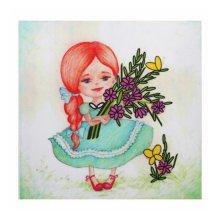 ВЛДС0002 Набор для вышивания лентами Woman-Hobby 'Серия Девочки №2', 13,5х13,5 см