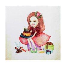 ВЛДС0003 Набор для вышивания лентами Woman-Hobby 'Серия Девочки №3', 13,5х13,5 см