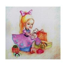 ВЛДС0004 Набор для вышивания лентами Woman-Hobby 'Серия Девочки №4', 13,5х13,5 см