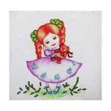 ВЛДС0005 Набор для вышивания лентами Woman-Hobby 'Серия Девочки №5', 13,5х13,5 см