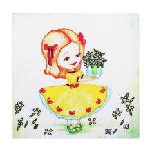 ВЛДС0010 Набор для вышивания лентами Woman-Hobby 'Серия Девочки №10', 13,5*13,5 см