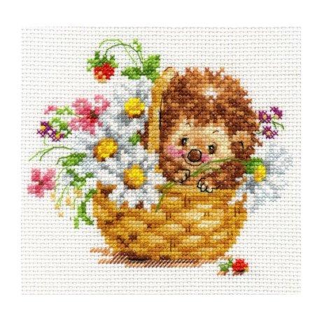 0-113 Набор для вышивания Алиса 'Ёжик в ромашках', 13х11 см