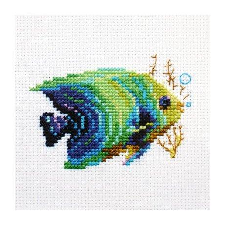 0-150 Набор для вышивания 'Алиса' 'Тропические рыбки. Изумрудная', 8х6 см