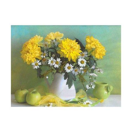 7004 Набор для вышивания в смешанной технике 'Матренин Посад' 'Желтые хризантемы', 32х40 см